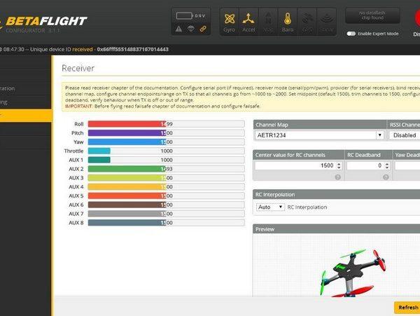 paramétrage drone